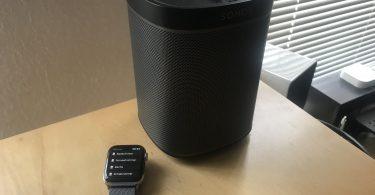 Foto der Apple Watch mit Lyd-App und Sonos-Lautsprecher