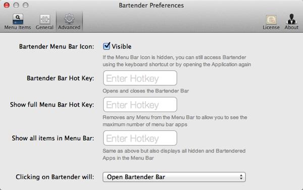 Screenshot der fortgeschrittenen Bartender-Einstellungen