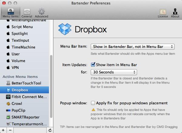Screenshot der Bartender-Einstellungen für Dropbox