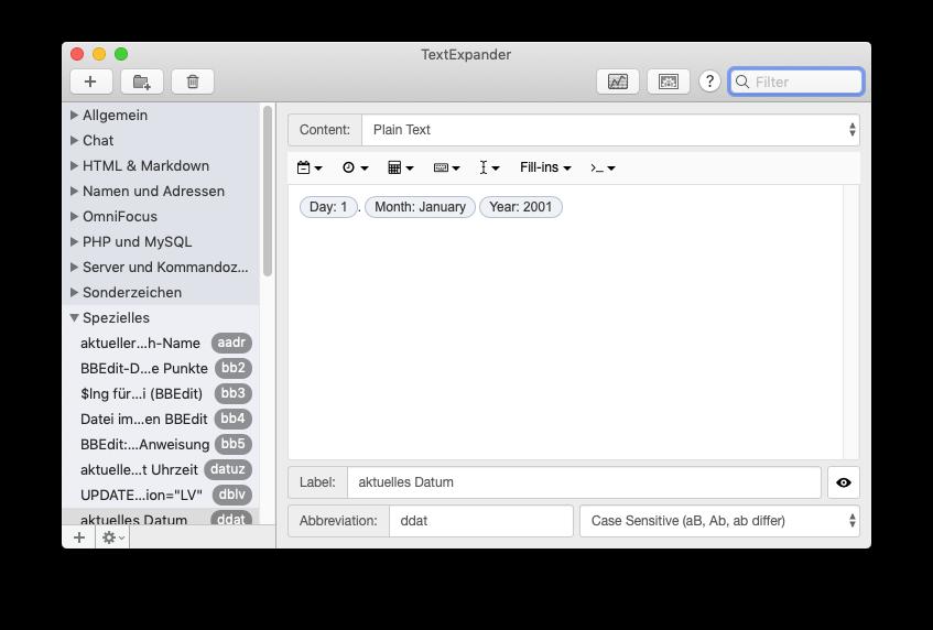 Screenshot der Platzhalter-Funktionen von TextExpander