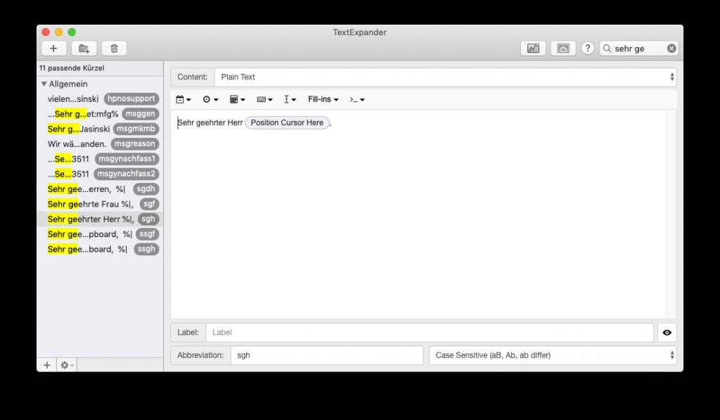 Screenshot des Hauptfensters von TextExpander