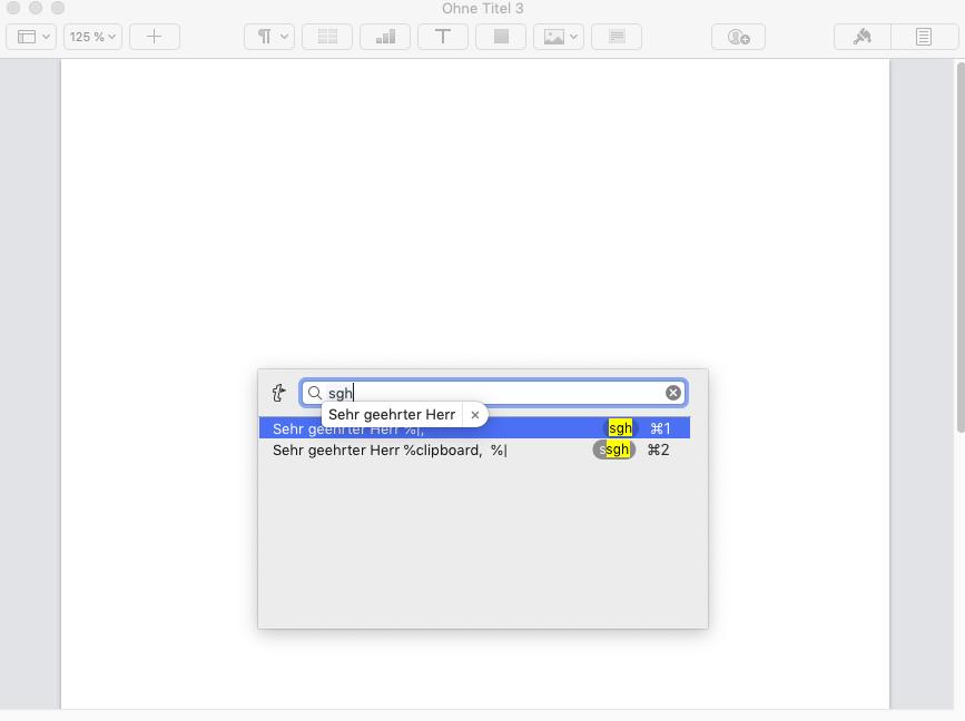 Screenshot der Textbaustein-Suchfunktion