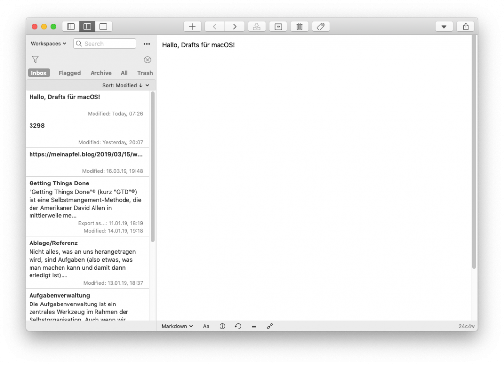 Screenshot von Drafts für Mac