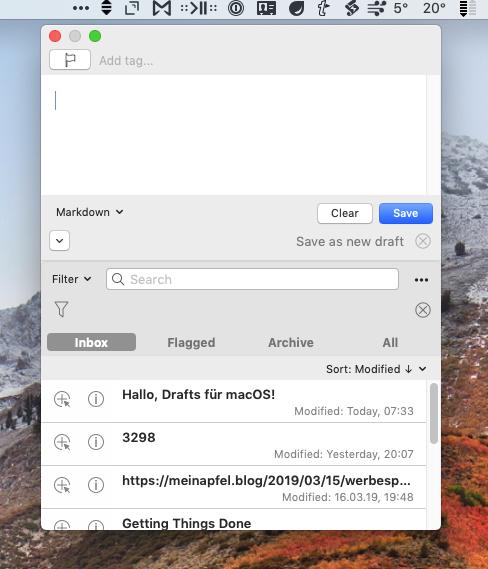 Screenshot der Menubar-Applikation