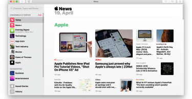 Screenshot von Apple News auf dem Mac