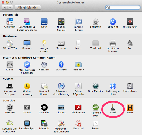 Screenshot von Hazel-Icon in den Systemeinstellungen