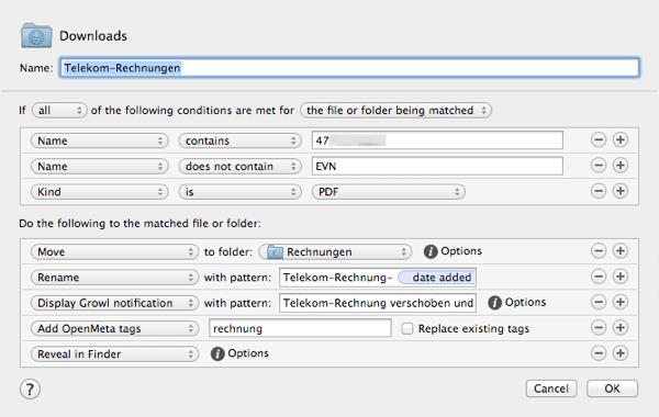 Screenshot der Hazel-Regeln zum Einsortieren von PDF-Rechnungen