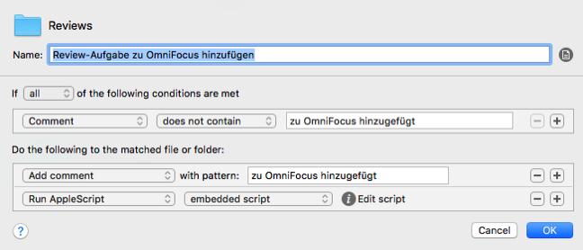 Screenshot der Hazel-Regel zum Einfügen in OmniFocus