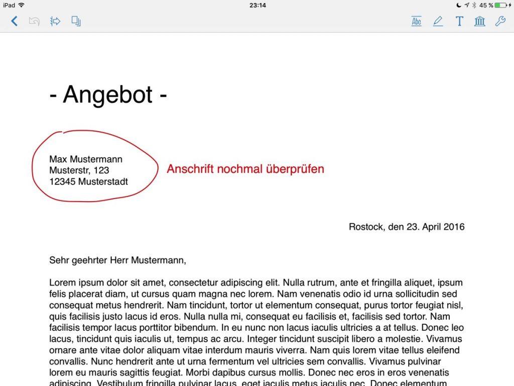 Screenshot der PDF-Bearbeitung auf dem iPad