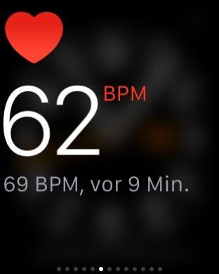 Screenshot der Pulsmessung