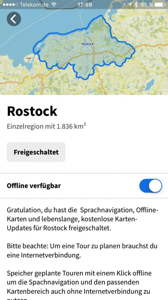Screenshot von der Komoot-App