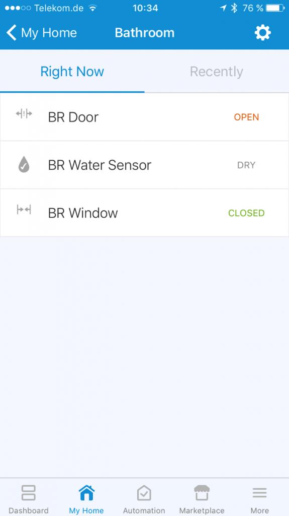 Screenshot einer Einzelraumansicht in der SmartThings-App