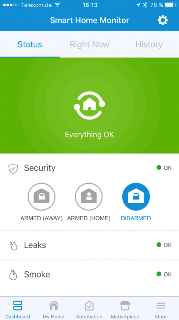Screenshot der Startseite der SmartThings-App
