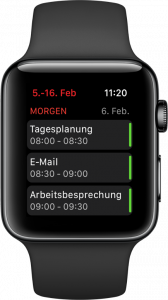 Screenshot vom Kalender auf der Apple Watch