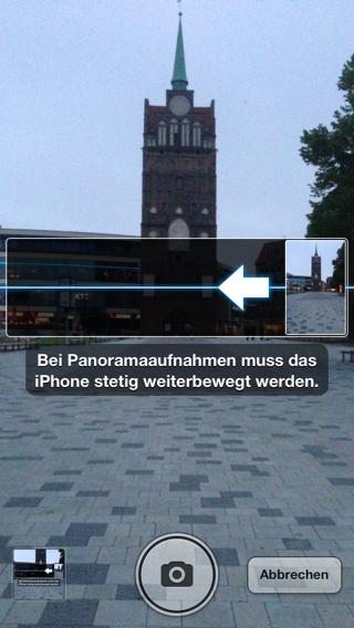 Screenshot der Panorama-Funktion in der Kamera-App auf dem iPhone