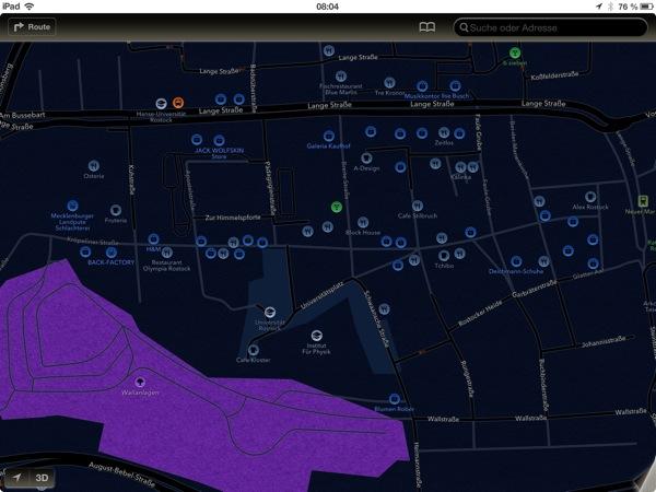 Screenshot von Apple Maps im Nachtmodus