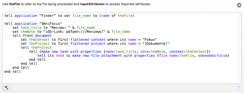 Screenshot des zugehörigen AppleScripts