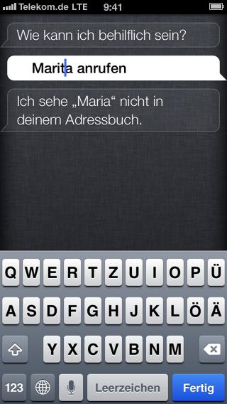 Screenshot der Siri-Funktion auf dem iPhone