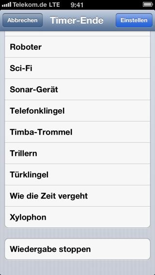 Screenshot der Timer-Konfiguration auf dem iPhone