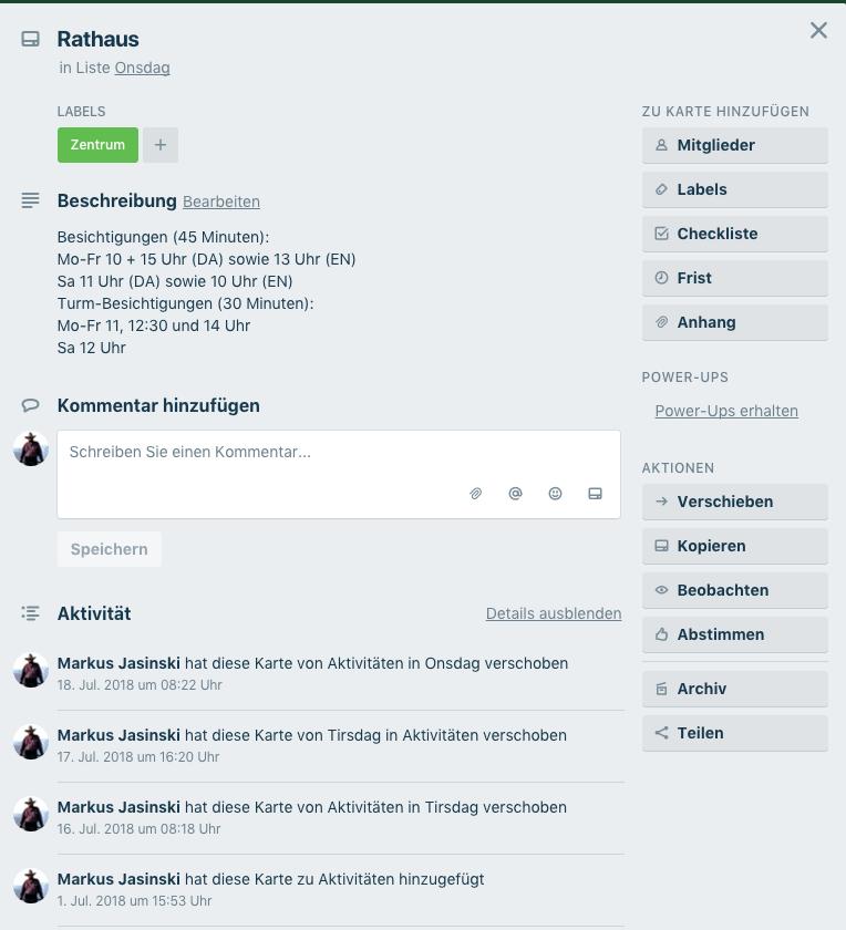 Screenshot der Einstellungen einer Trello-Karte