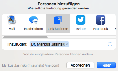 Screenshot des Share-Dialogs der Notizen-App