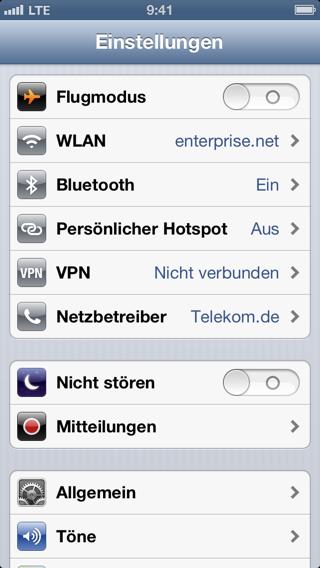 Screenshot der iPhone-Einstellungen