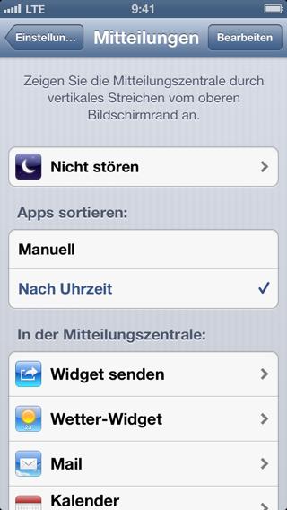 Screenshot der Einstellungen für Mitteilungen auf dem iPhone