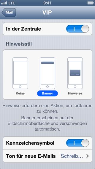 Screenshot der Einstellungen für VIP-Mail-Mitteilungen auf dem iPhone