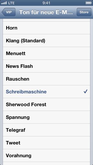 Screenshot der Soundauswahl für VIP-Mail-Mitteilungen auf dem iPhone