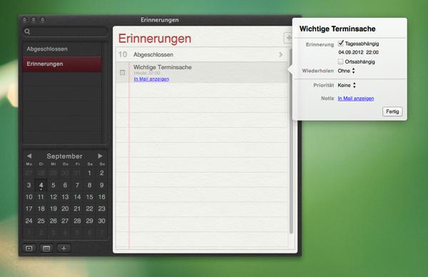 Eigenschaften der Erinnerung anpassen (Screenshot)