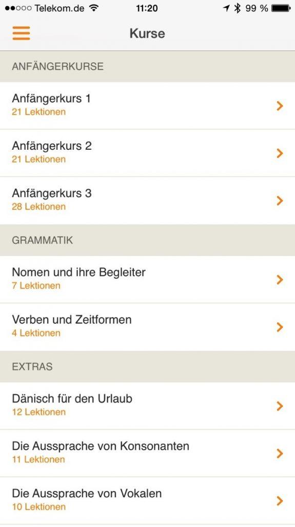 Screenshot der Babbel-Kursauswahl