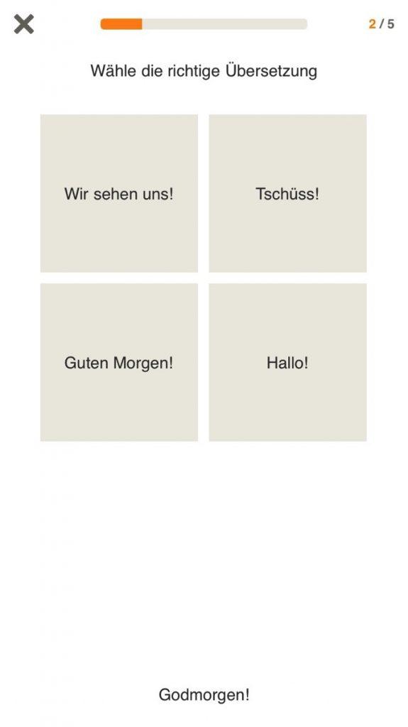 Screenshot für einen Wörterquiz