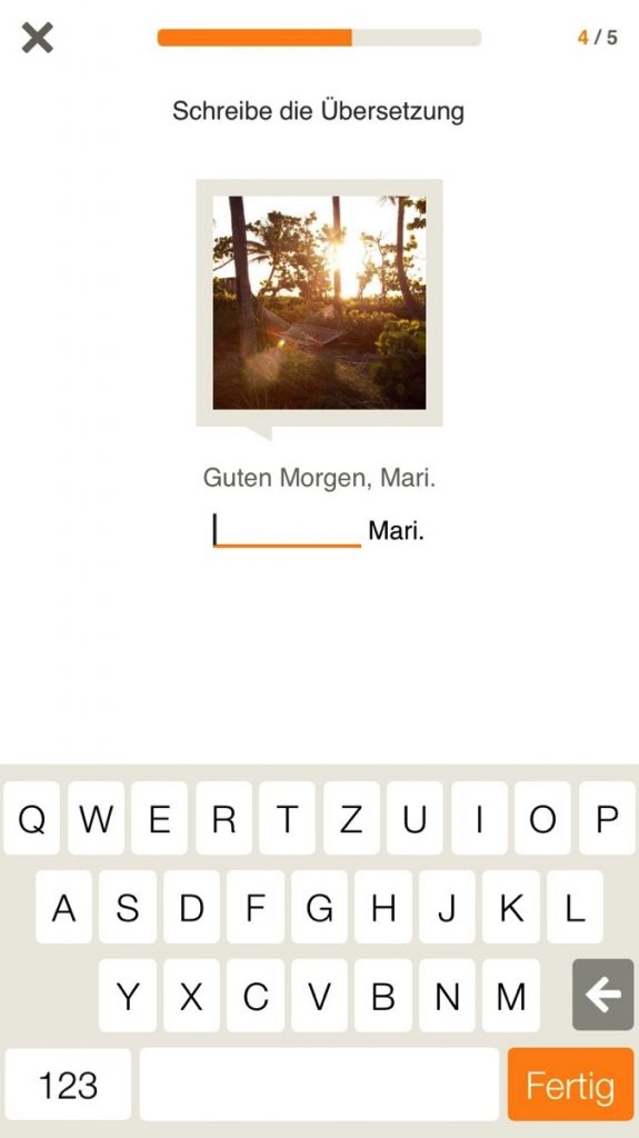 Screenshot für einen erweiterten Lückentext-Quiz