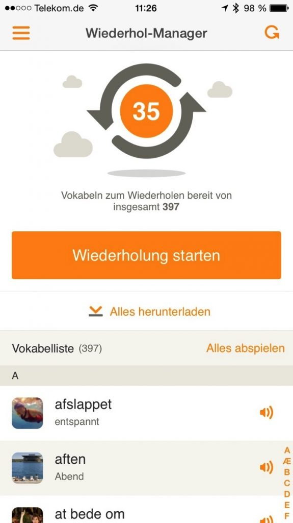 Screenshot des Wiederhol-Manager in Babbel