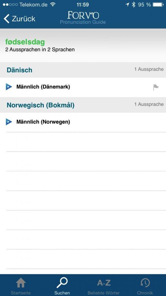 Screenshot der Forvo-App