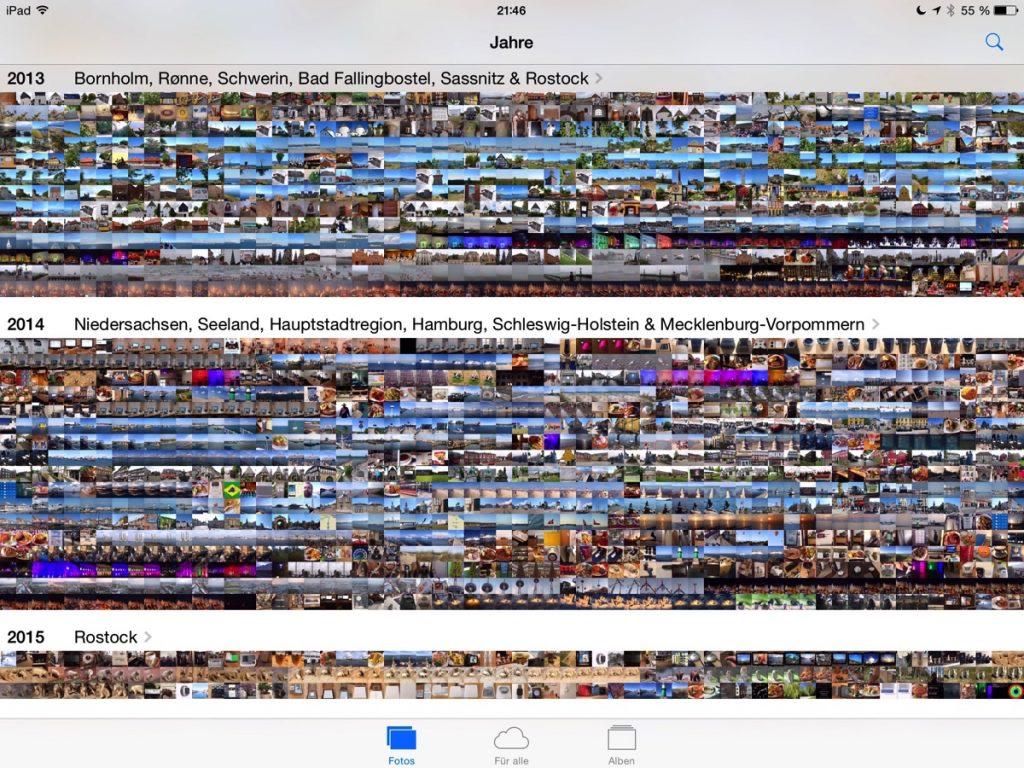 Screenshot der Fotos-App auf dem  iPad