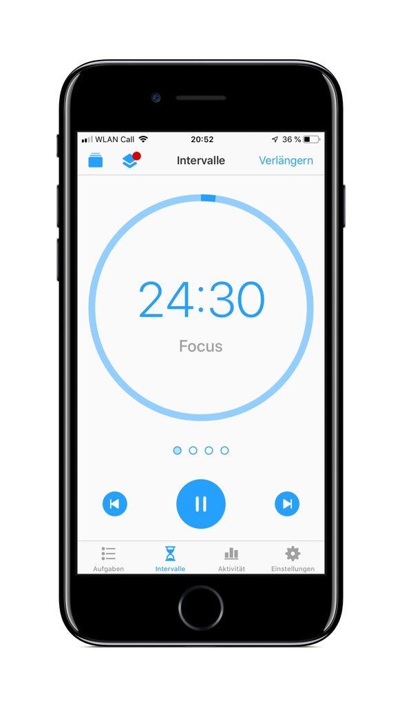 Screenshot einer typischen Pomodoro-App