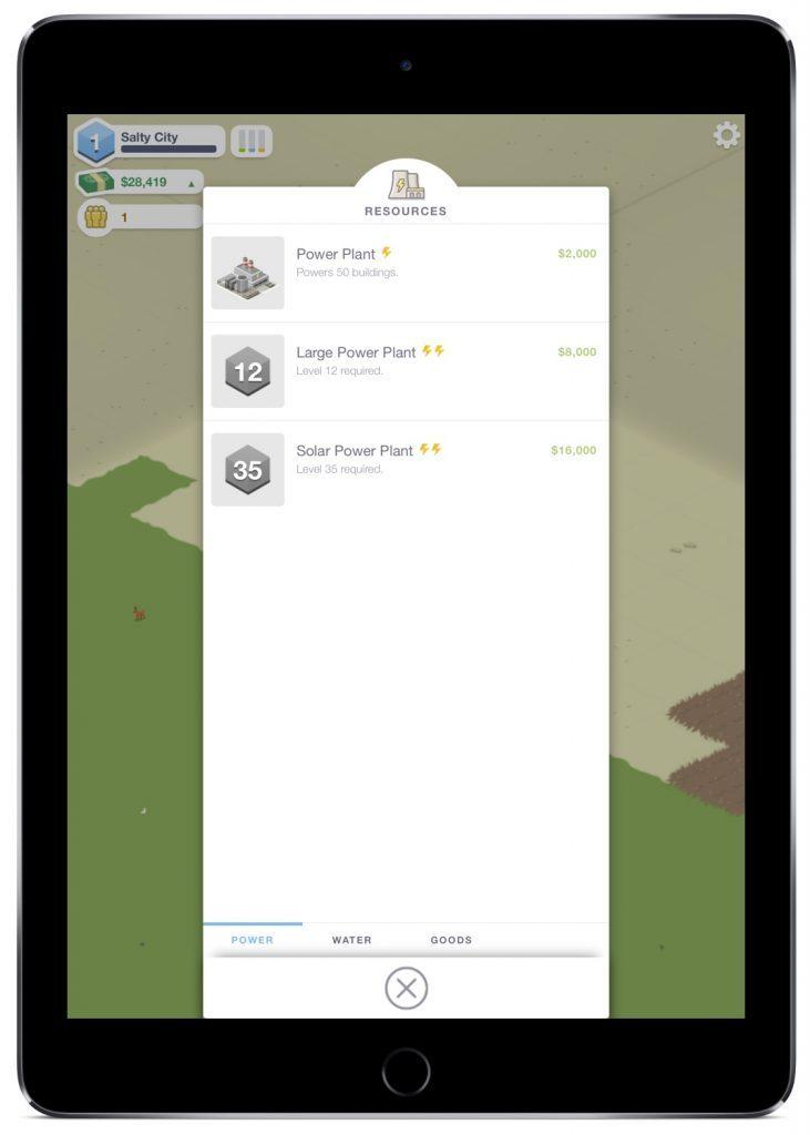 Screenshot der Kraftwerks-Auswahl in Pocket City