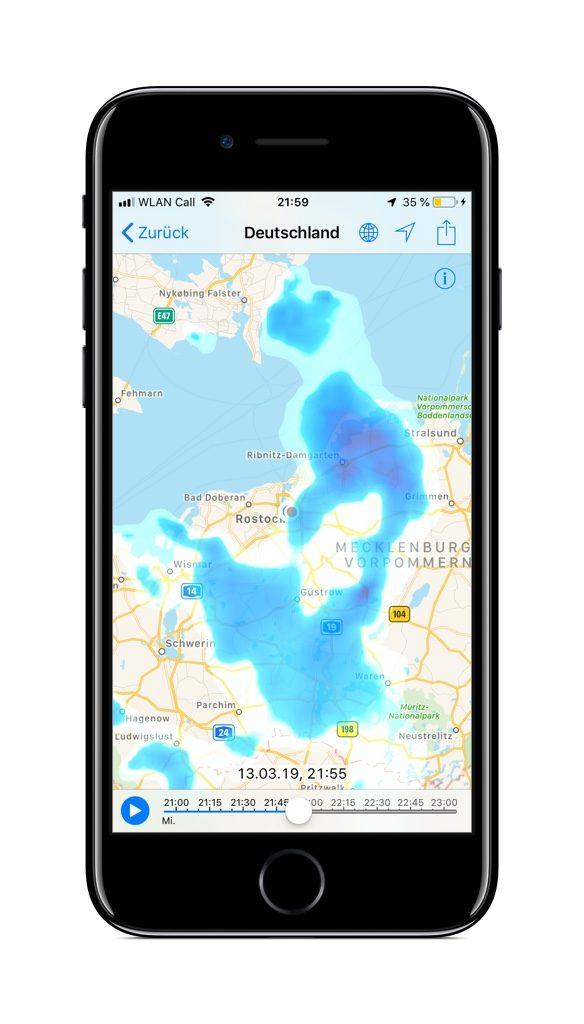 Screenshot des Regenradars der RainToday-App auf einem iPhone