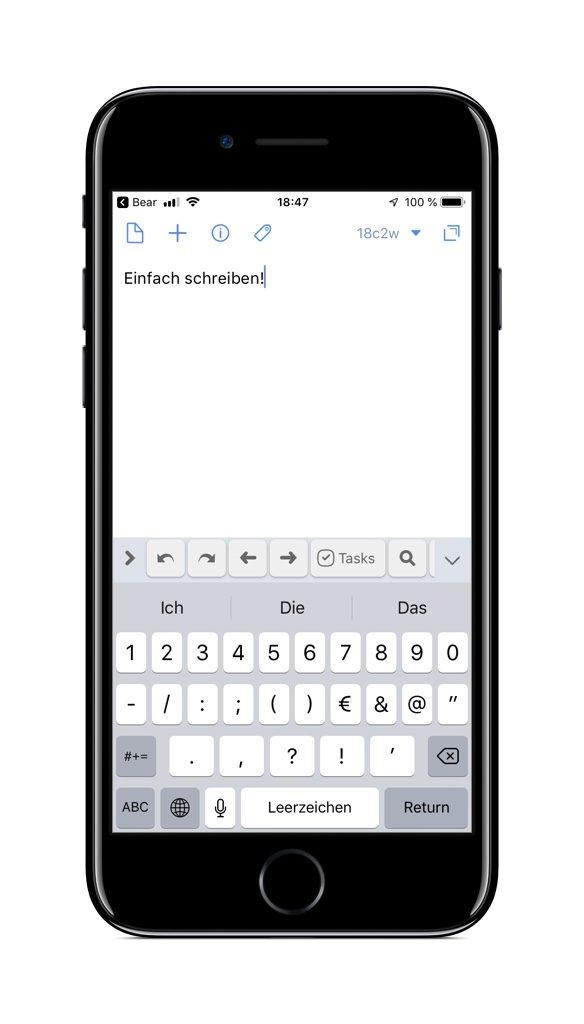 Screenshot von Drafts auf dem iPhone