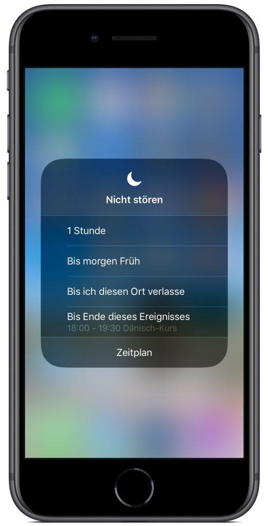 Screenshot des Nicht-Stören-Dialogs auf einem iPhone