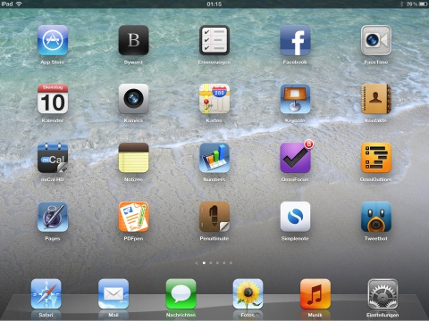 Screenshot meies Homescreens auf dem neuen iPad