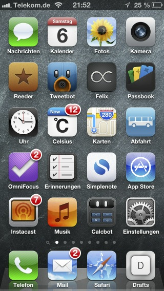mein iPhone 5 Homescreen