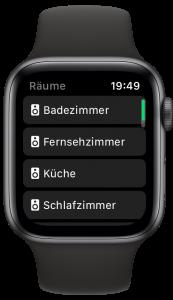 Screenshot der Räumeliste in Lyd