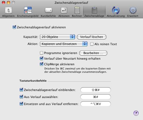 Screenshot der Konfiguration der Zwischenablage
