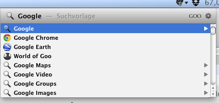Screenshot der Suchmaschinen-Funktion