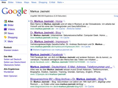 Screenshot des Google-Suchergebnisses