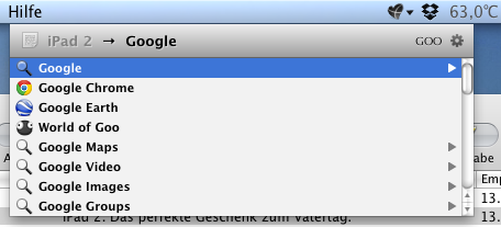 Screenshot der Instant-Send-Funktion (Schritt 2)