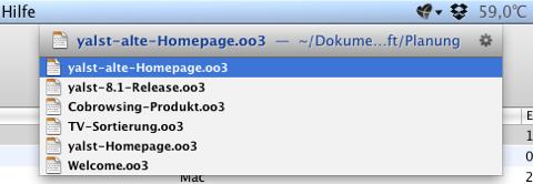 Screenshot der Dokumenten-Suche in LaunchBar
