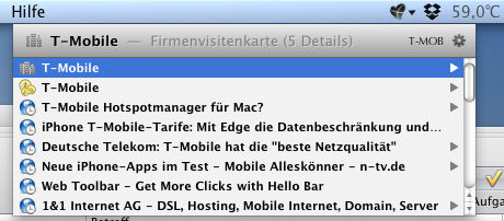 Screenshot der Adressensuche